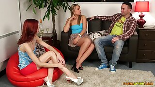 CFNM foreplay and handjob with two slim babes